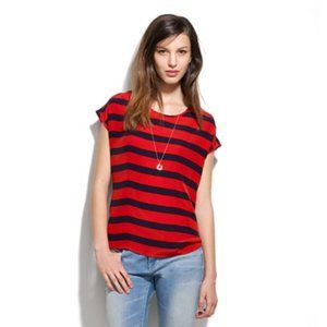Madewell Navy & Red Silk Boxy Stripe Top